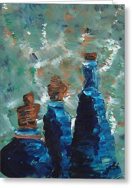 Three Blue Bottles Greeting Card by Estefan Gargost