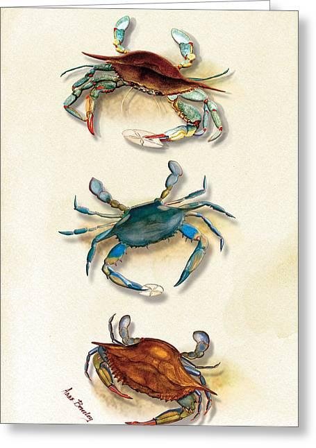 Three Blue Crabs Greeting Card