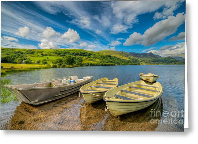Three Boats Greeting Card by Adrian Evans