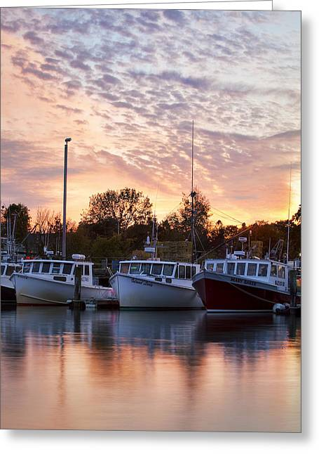 Three Boats Greeting Card by Eric Gendron