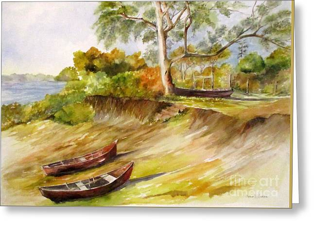Three Boats Greeting Card