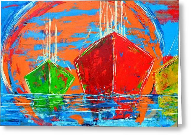 Three Boats Sailing In The Ocean Greeting Card by Patricia Awapara