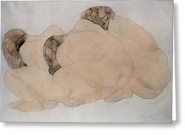 Three Boulders Pencil & Wc On Paper Greeting Card by Auguste Rodin