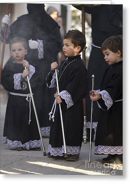 Three Boys At The Procession Greeting Card by Perry Van Munster