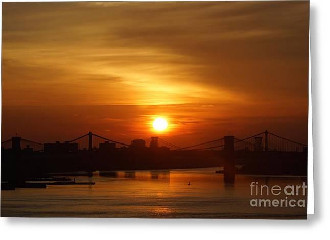 Three Bridges At Sunrise Greeting Card