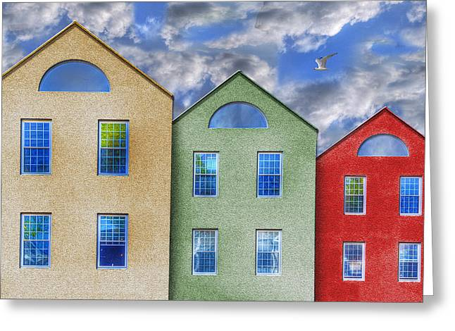 Three Buildings And A Bird Greeting Card