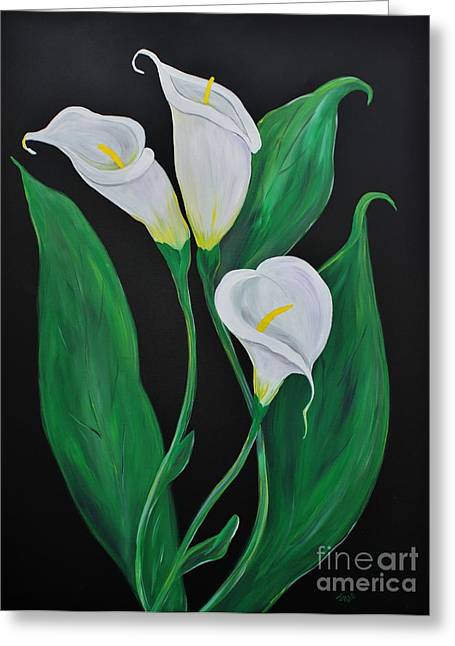 Greeting Card featuring the painting Three Calla Lilies On Black by Janice Rae Pariza
