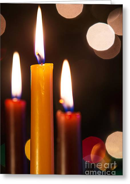 Three Candles Greeting Card by Carlos Caetano
