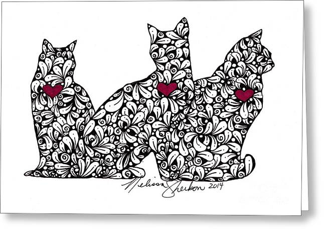 Greeting Card featuring the drawing Three Cats by Melissa Sherbon