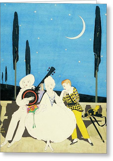Three Characters Wears Pierrot Greeting Card by Arthur Finley