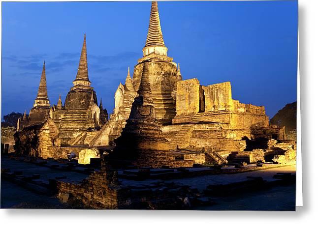 Three Chedis, Wat Phra Si Sanphet Greeting Card by Peter Adams