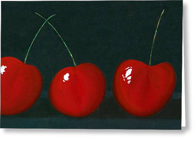 Three Cherries Greeting Card by Karyn Robinson