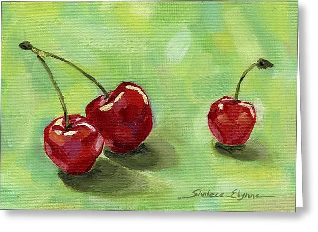 Three Cherries Greeting Card by Shalece Elynne