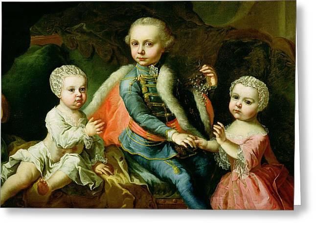 Three Children Seated On A Sofa, Said Greeting Card