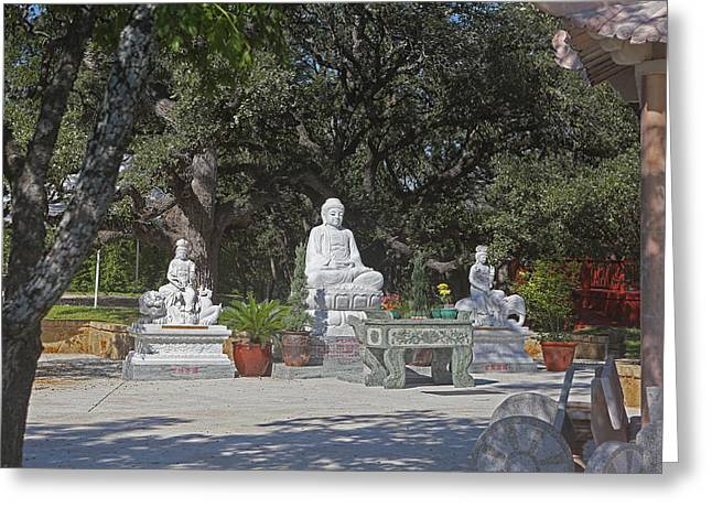 Three Chinese Statues Greeting Card by Linda Phelps