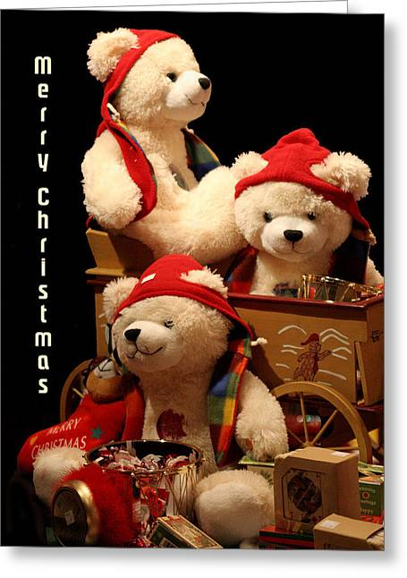 Three Christmas Bears Greeting Card