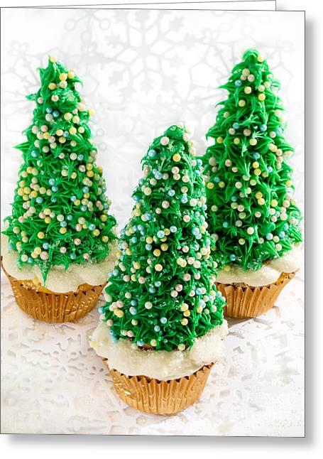 Three Christmastree Cupcakes  Greeting Card by Iris Richardson