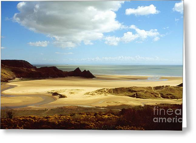 Three Cliffs Bay On The Gower Greeting Card