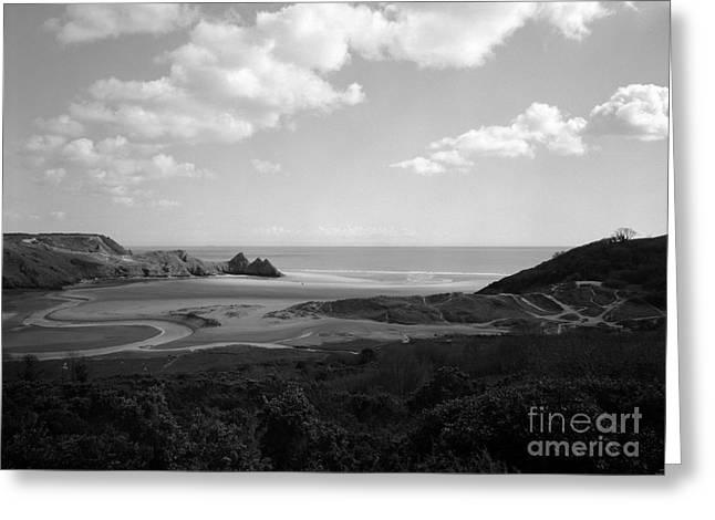 Three Cliffs Bay Greeting Card by Paul Cowan