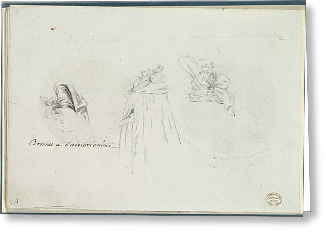Three Costume Sketches Of A Bonnet Greeting Card