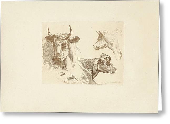 Three Cow Heads, Jean Zacherie Mazel, Hendrik Stokvisch Greeting Card by Quint Lox