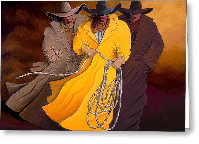 Three Cowboys Greeting Card