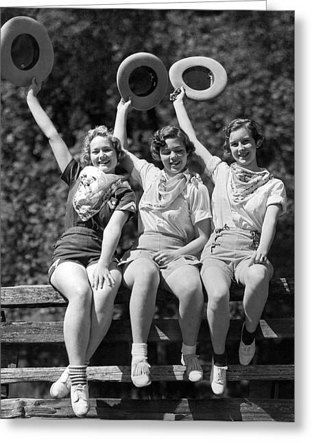 Three Cowgirls On A Fence Greeting Card by Underwood Archives