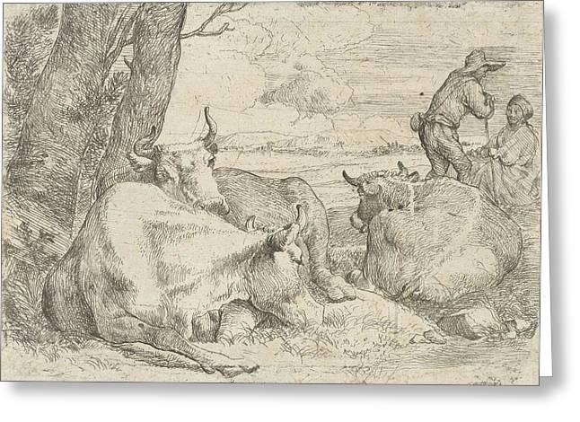 Three Cows And Two Shepherds, Jan Van Ossenbeeck Greeting Card by Artokoloro