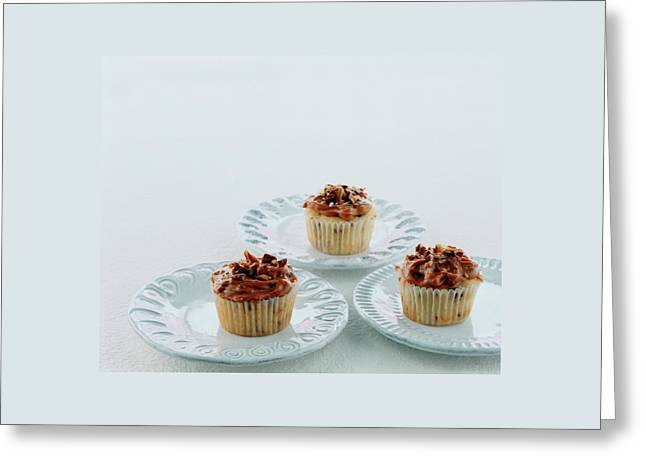Three Cranberry Cupcakes Greeting Card by Romulo Yanes