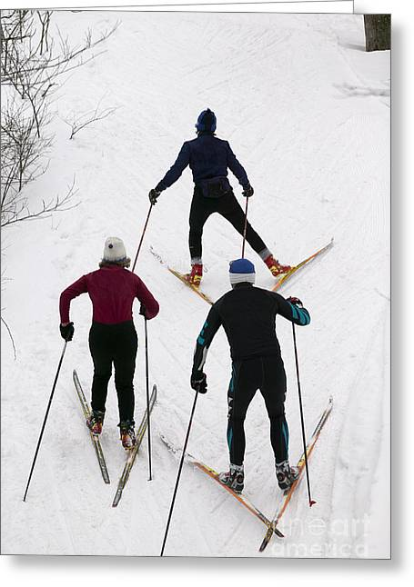 Three Cross Country Skiers. Greeting Card