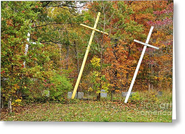 Three Crosses And Cemetery Greeting Card by Thomas R Fletcher