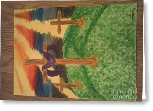 Three Crosses  Greeting Card by Kae Mangan