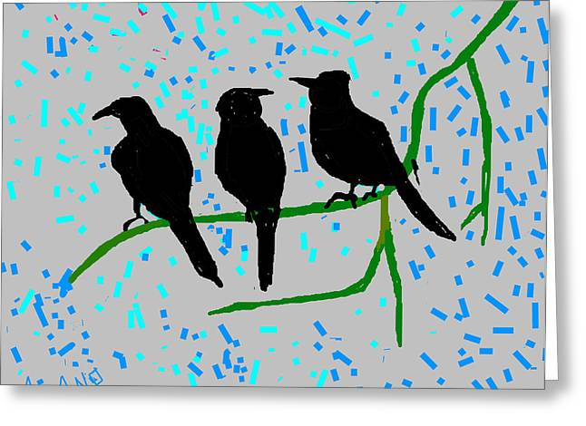 Three Crows Greeting Card