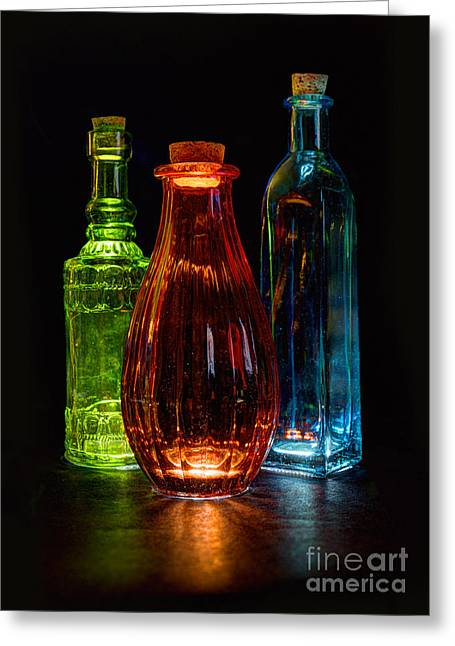 Three Decorative Bottles Greeting Card by ELDavis Photography