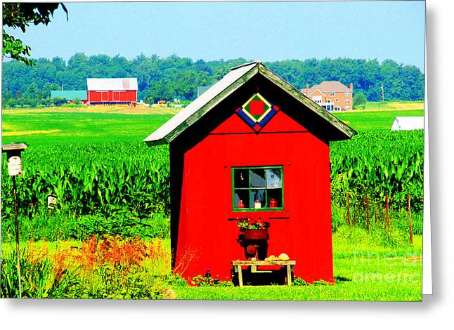 Three Delightful  Buildings Greeting Card by Tina M Wenger