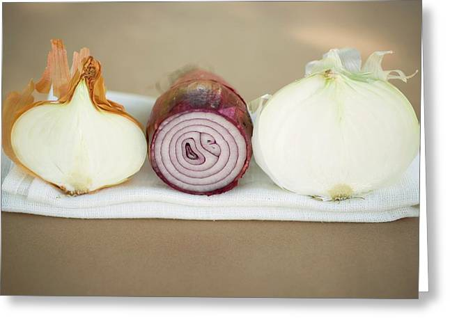 Three Different Onions, Showing Cut Surfaces Greeting Card