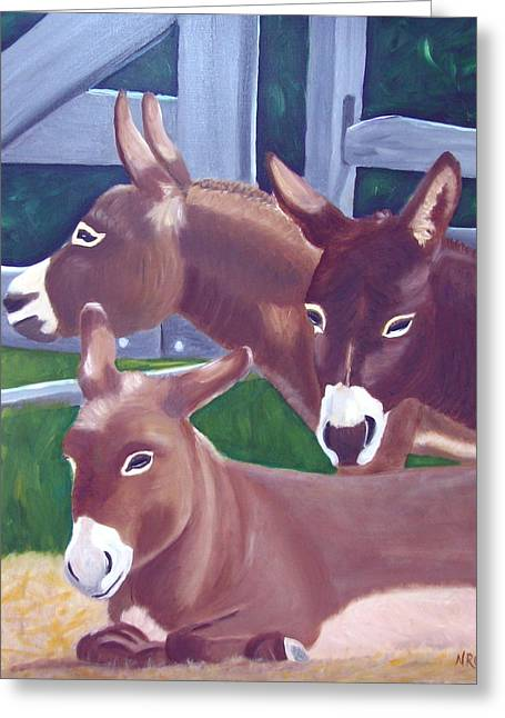 Three Donkeys Greeting Card