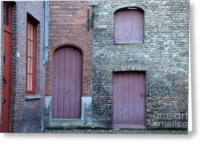 Three Doors And Two Windows Bruges, Belgium Greeting Card