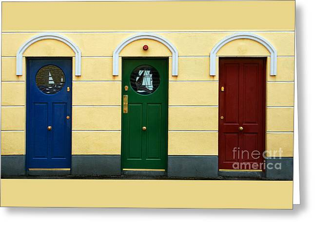 Three Doors Greeting Card