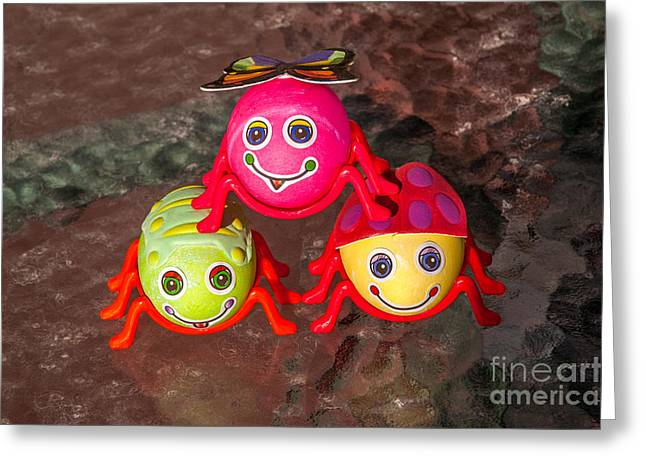 Three Easter Egg Bugs Greeting Card by Sue Smith