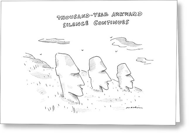 Three Easter Island Heads Are Show Greeting Card