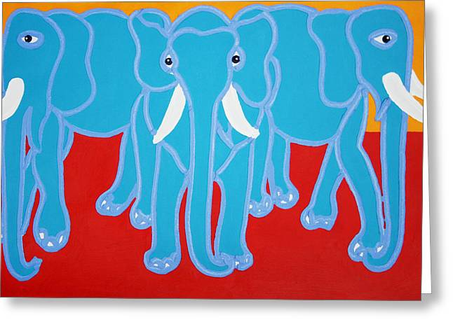 Three Elephants Greeting Card by Matthew Brzostoski