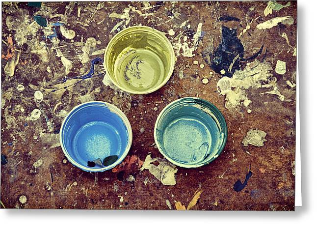 Greeting Card featuring the photograph Three Empty Paint Cups by Gary Slawsky