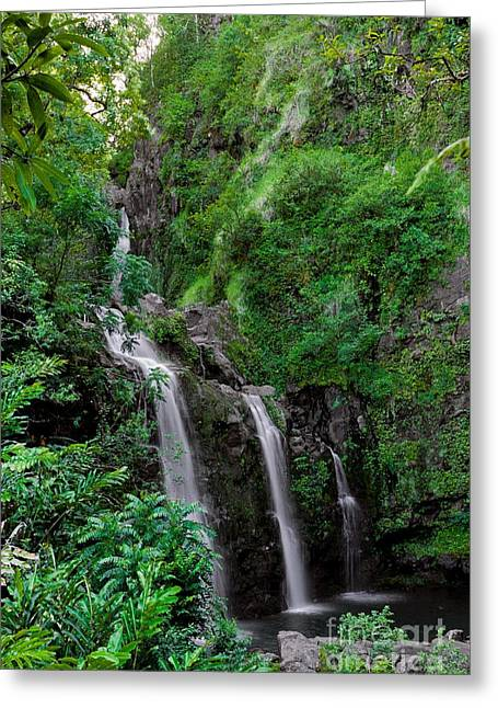 Three Falls On The Road To Hana Greeting Card