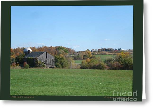 Three Farms In Autumn Greeting Card by Patricia Overmoyer