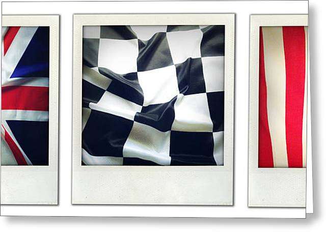 Three Flags Greeting Card by Les Cunliffe