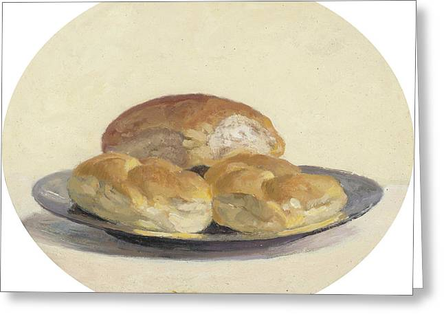 Three French  Rolls On An Iron Plate Greeting Card by Ben Rikken