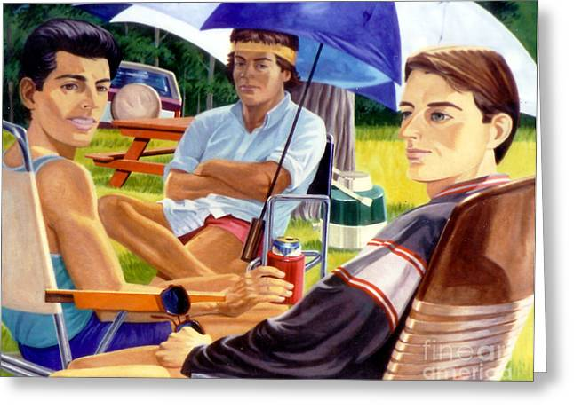 Three Friends Camping Greeting Card by Stan Esson