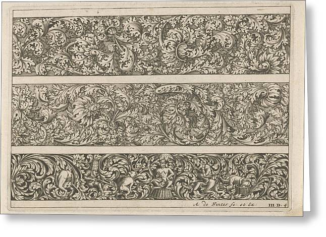 Three Friezes With Leaf Tendrils, Anonymous Greeting Card by Anthonie De Winter