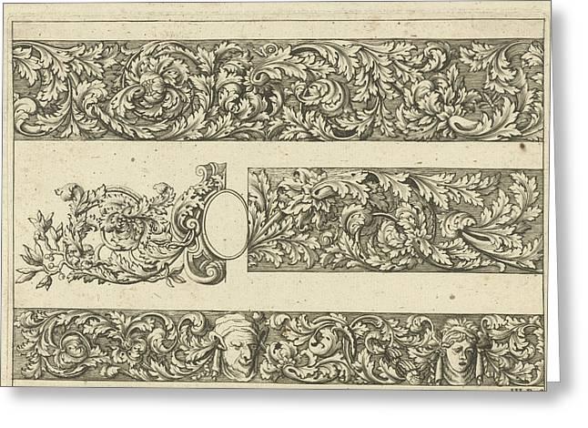 Three Friezes With Leaf Tendrils, Anthonie De Winter Greeting Card by Anthonie De Winter And C. De Moelder